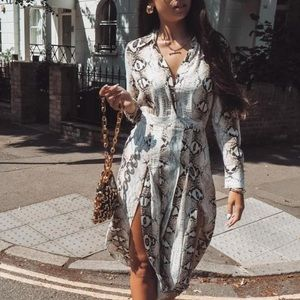 TOPSHOP Faux Snake Print SOLD OUT Dress with Slits
